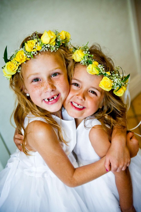 San Diego Wedding Photography: True Photography captures smiling flower girls with yellow rose halos