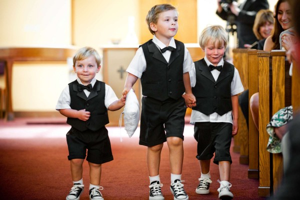 San Diego Wedding Photography: True Photography captures ring bearers in mini tuxedos walking down the aisle in wedding ceremony