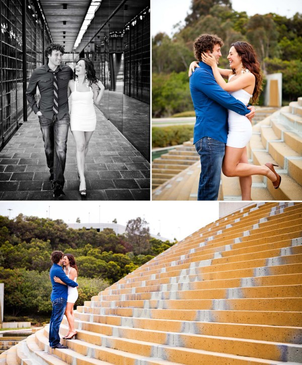 San Diego Wedding Photography: True Photography captures couple in a stadium during romantic engagement shoot