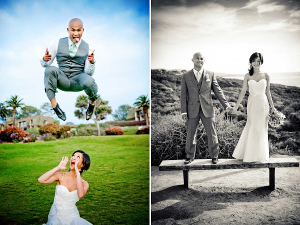 San Diego wedding photographer True Photography unique and fun wedding photos of groom jumping over bride