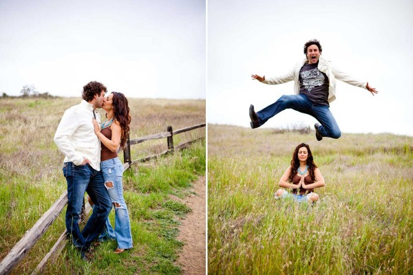 San Diego Wedding Photography: True Photography captures couple having fun and kissing in a field