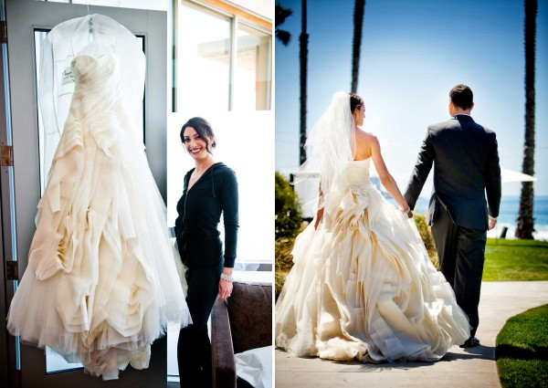 San Diego wedding photographer True Photography captures bride in in beautiful Diana wedding dress by Vera Wang at Scripps Seaside Forum