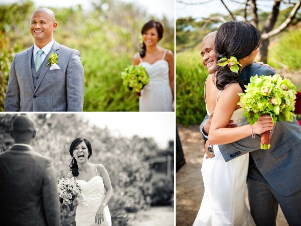 "San Diego wedding photographer True Photography captures ""first look"" with bride and groom before wedding ceremony at Torrey Pines State Reserve"