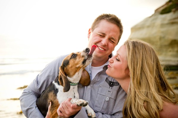 Wedding Photography- Funny photo of dog during an engagement shoot at the beach in San Diego