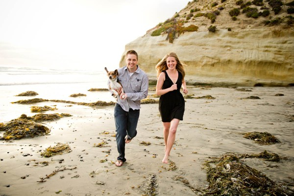 San Diego Wedding Photographers- engagement shoot at the beach with a dog