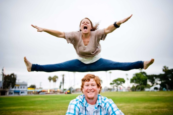 Fun San Diego engagement shoot at a park in Pacific Beach