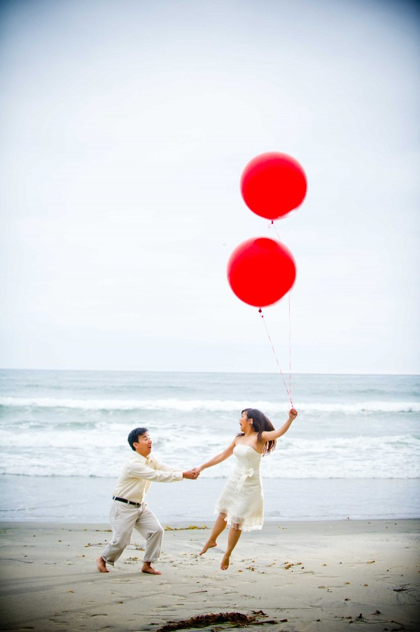 True Photography San Diego Wedding Photographer creative engagement shoot with balloons