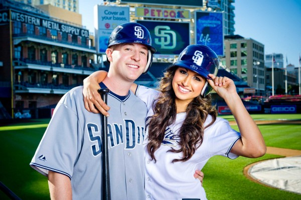 San Diego Wedding Photographers- engagement session on the baseball field