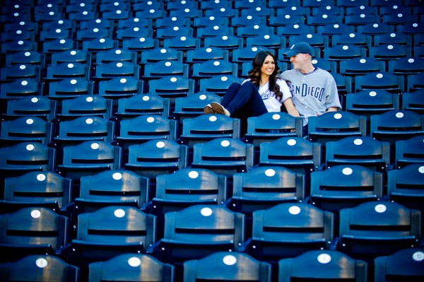 San Diego Wedding photographers shoot engagement session in stadium seats at Petco Park