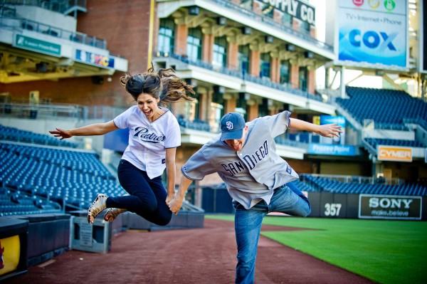 San Diego wedding photographer photographs couple at Petco Park San Diego