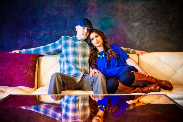Romantic, intimate and colorful engagement shoot downtown