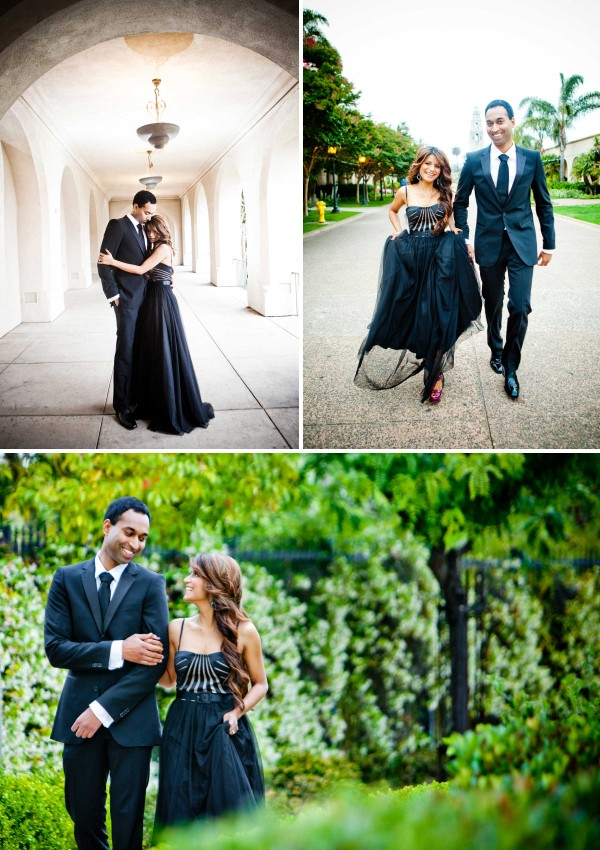 San Diego Wedding Photography in a fancy black dress and tuxedo at Balboa Park