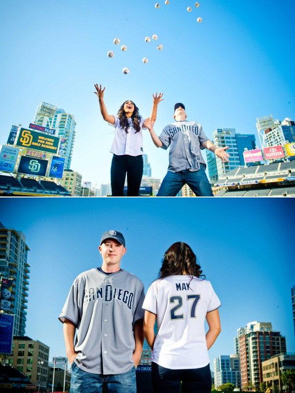 San Diego Wedding Photographer throwing baseballs at Petco Park Dowtown San Diego