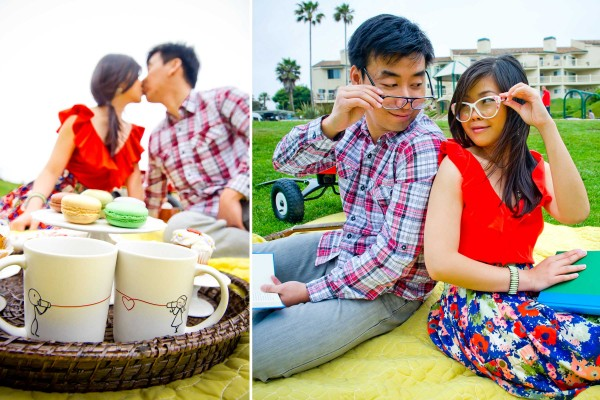 True Photography San Diego Wedding Photographer engagement photo shoot picnic in the park