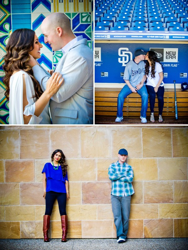 Baseball themed engagement shoot at Petco Park in Downtown San Diego