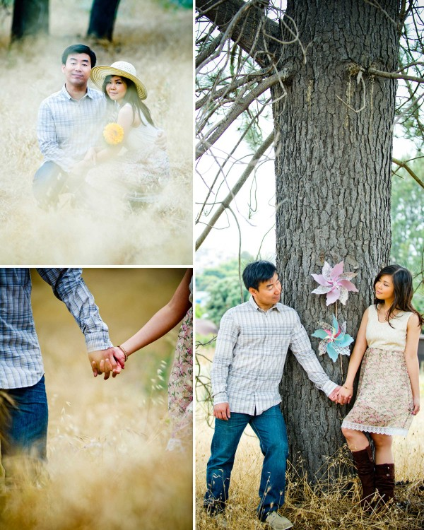 True Photography San Diego Wedding Photography couple in a field romantic engagement shoot