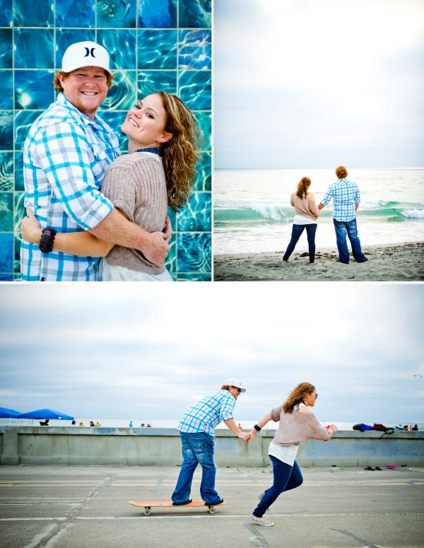 San Diego Wedding Photographers engagement photos on the beach and boardwalk in Pacific Beach San Diego