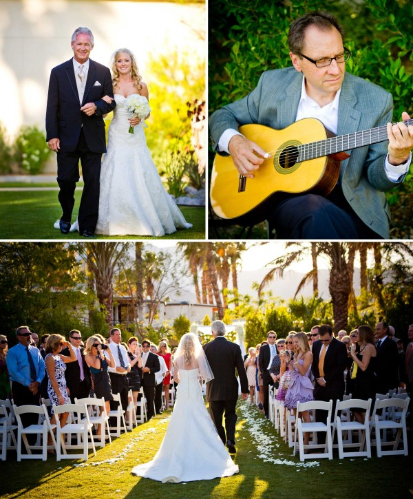 San Diego Wedding Photographers photograph father and bride walking down the aisle with guitar player