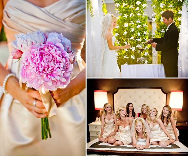 True Photography San Diego: during wedding ceremony with pink bouquet and wine pouring ceremony