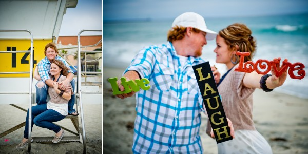 Engagement photoshooot at Pacific Beach lifeguard tower and a carousel at Belmont Park San Diego