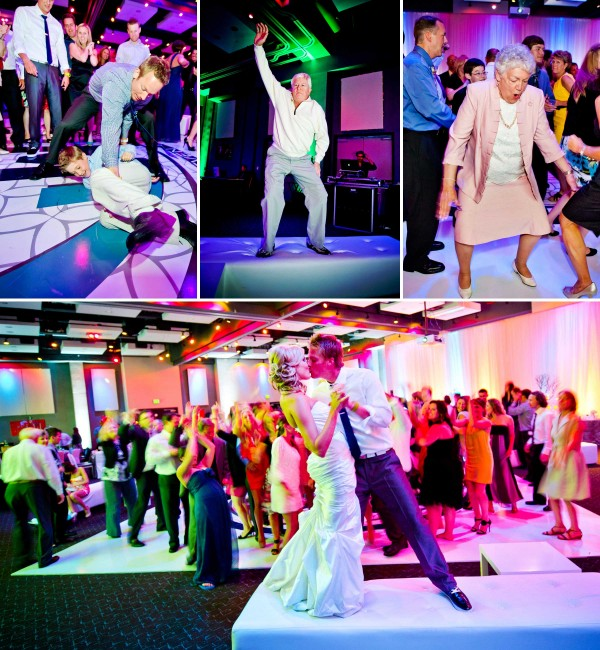 San Diego Wedding Photographer captures candid photos on the dancefloor with bright colored uplighting
