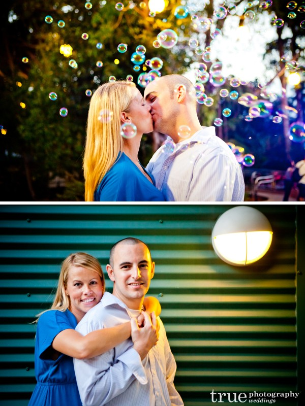 San Diego Wedding Photography- Kissing with bubbles during engagement shoot at the San Diego Zoo