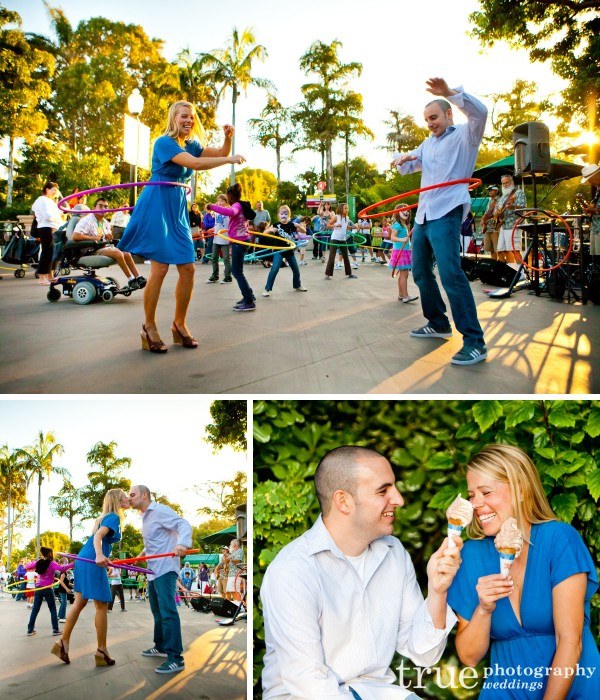 Hoola hooping at an engagement photoshoot at the San Diego Zoo