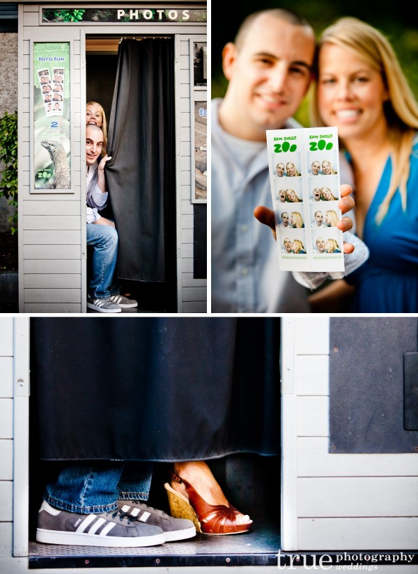 San Diego Wedding Photographer- Taking pictures in a photo booth for an engagement shoot at the San Diego Zoo
