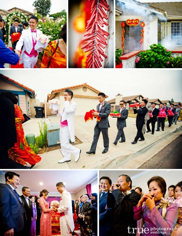 A Vietnamese Wedding and Tea Ceremony in San Diego with Fire crackers