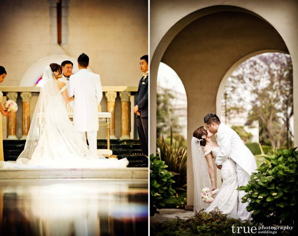 Wedding couple kissing after ceremony at USD Immaculata church