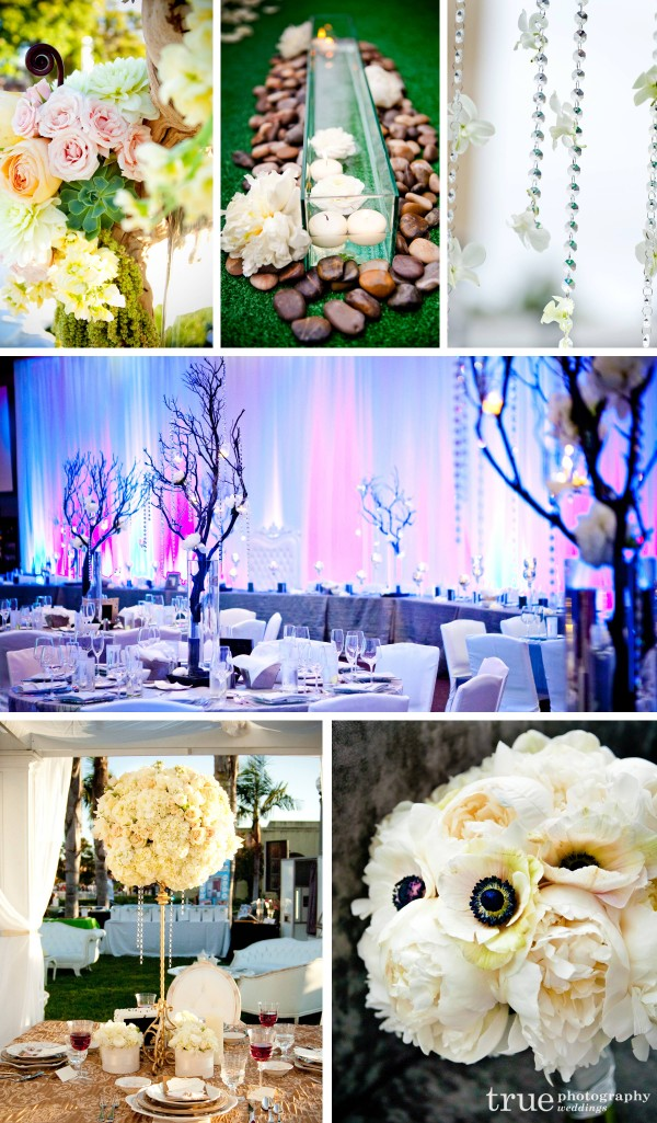 San Diego wedding florist Blush-Botanicals create manzanita tree centerpieces with dripping crystals and white peonies and driftwood floral designs