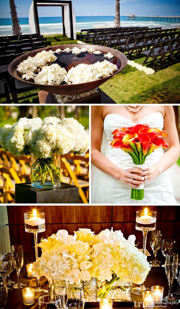 San Diego florist Botanica desinged white hydrangeas for wedding at the Scripps seaside forum and fancy white centerpieces with candles