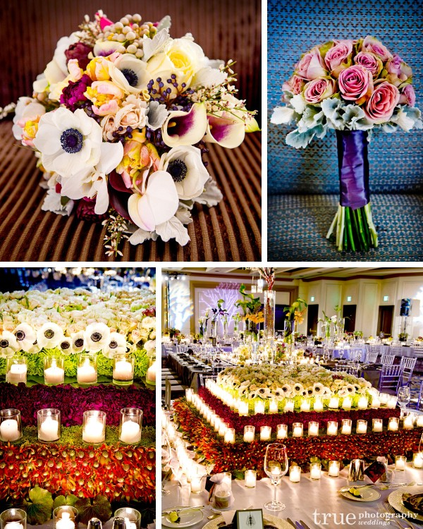 San Diego Wedding florist Floral-Works-&-Events designed a unique and colorful bouquet and head table floral centerpiece and candles
