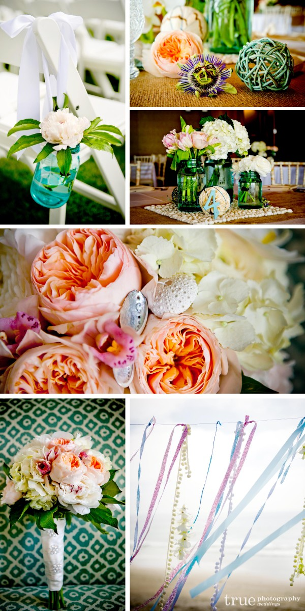Unique mason jar centerpieces with peonies and roses made by Flowechild for beachy and eclectic wedding in San Diego