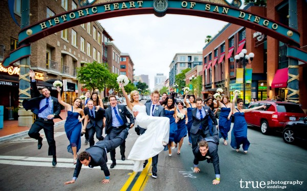 San Diego Wedding Photography: Meghan and Cheyne Amazing Race wedding downtown San Diego with bridal party