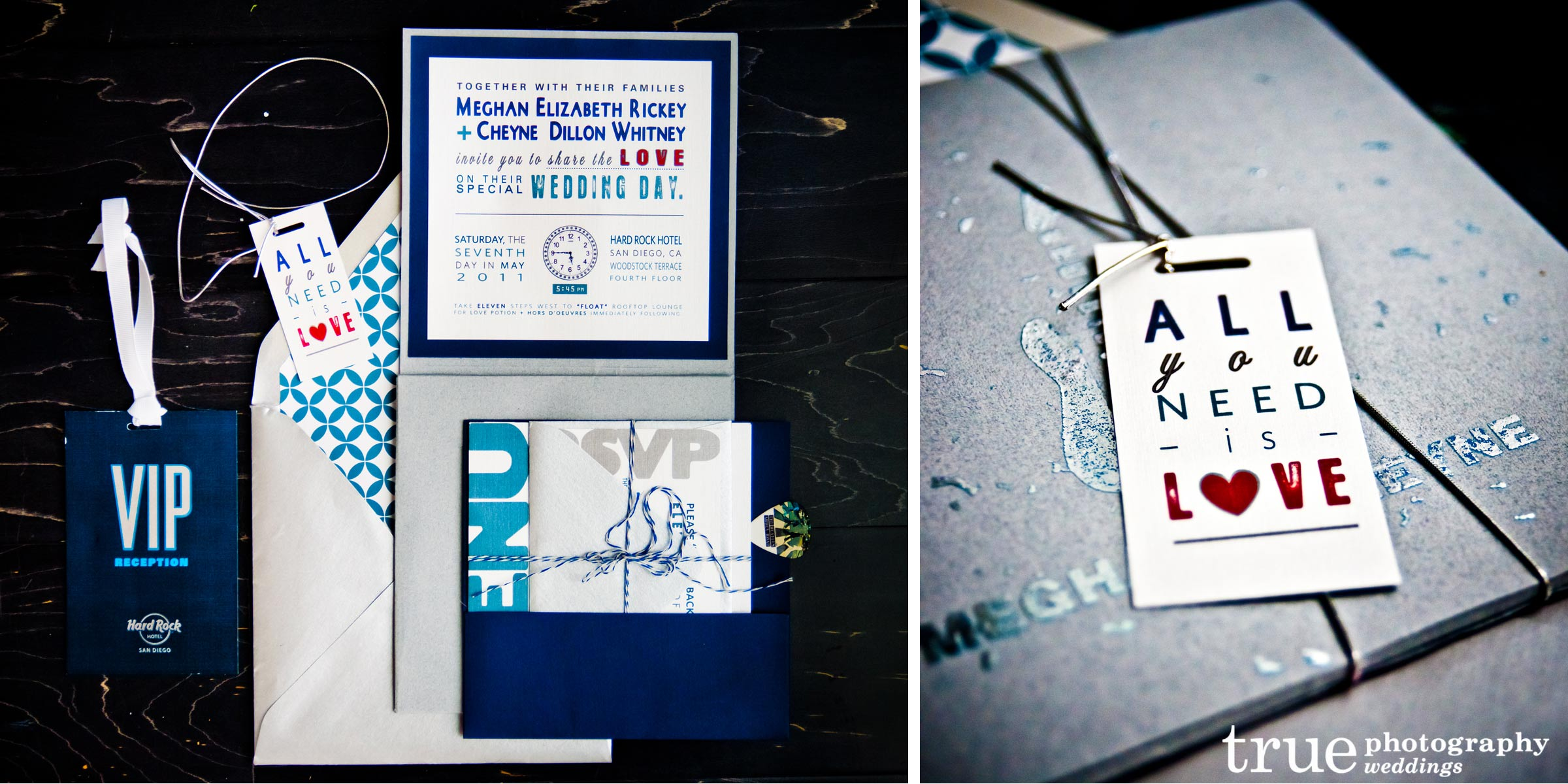All You Need Is Love Wedding Invitations: Hard Rock Hotel San Diego: An Amazing Race Wedding