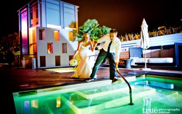Bride and groom at Float rooftop lounge pool at the Hard Rock Hotel