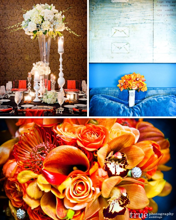 Jennifer Cole Florals of San Diego designed these orange bouquets and white modern centerpieces for a wedding at the US Grant Hotel