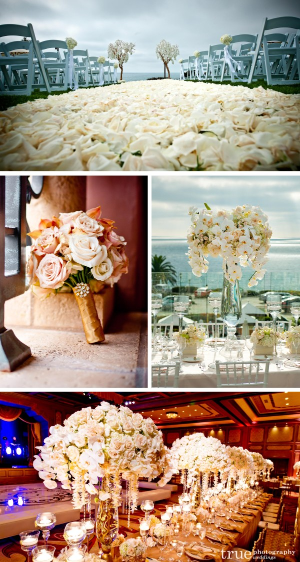 San Diego Wedding flowers created by Karen Tran florals with lots of roses for a beach wedding and a grand celebration at the Grand Del Mar