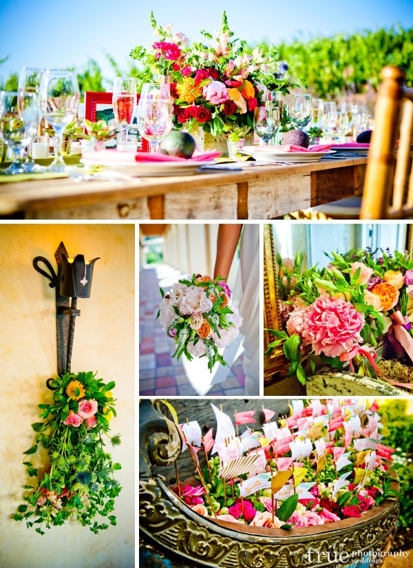 Kathryn-Gayner-Distinctive-Florals-and-Events designed beautiful colorful centerpieces and bouquets of Juliet roses, mint, peonies and dahlias, snapdragons and sweat pea