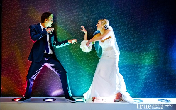 San Diego Wedding Photographers downtown San Diego Hard Rock Hotel with bright lights