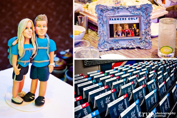 Meghan and Cheyne in an Amazing Race themed wedding cake topper, Passport escort cards and funny bridal party photography in downtown San Diego