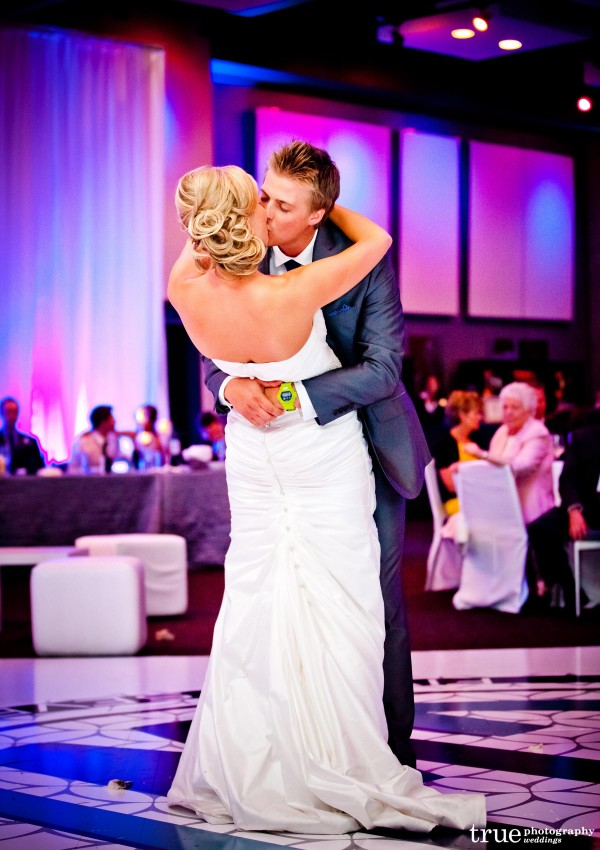 The bride and grooms first dance at their wedding reception at San Diego's Hard Rock Hotel