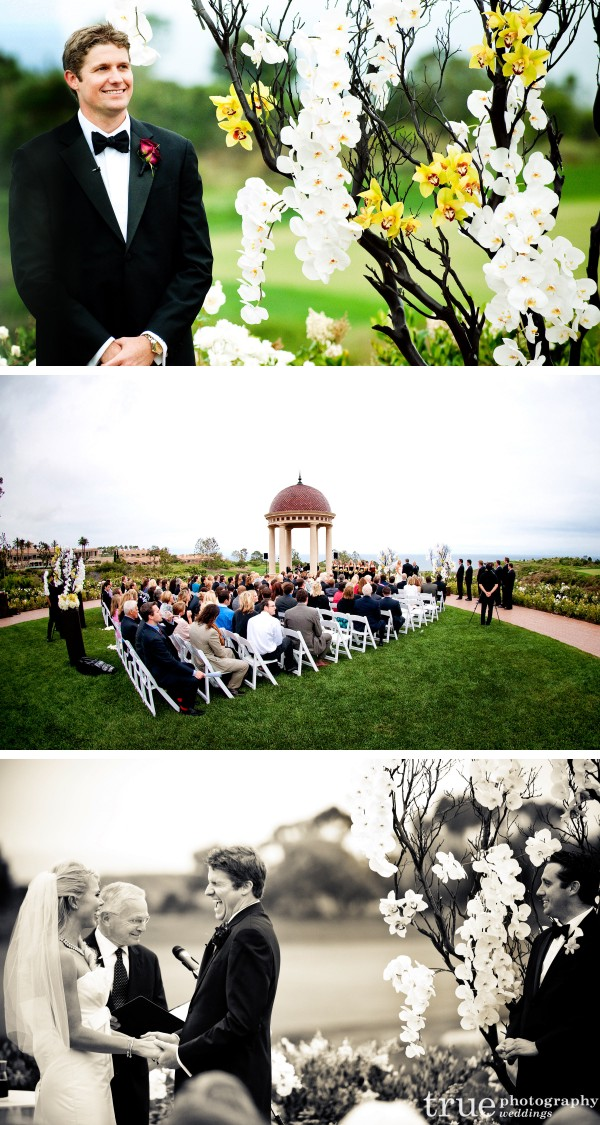 Orange County Wedding Photographer_ Groom waiting for bride during ceremony at Pelican Hill Resort in Orange County