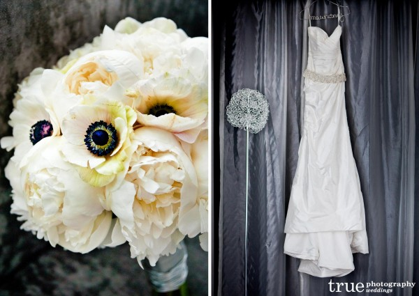 A Romona Kaveza wedding dress with a bridal bouquet of white peonies and anemones