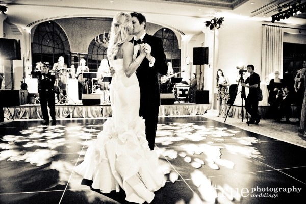 Bride and grooms first dance at Orange County wedding at the Pelican Hill Resort
