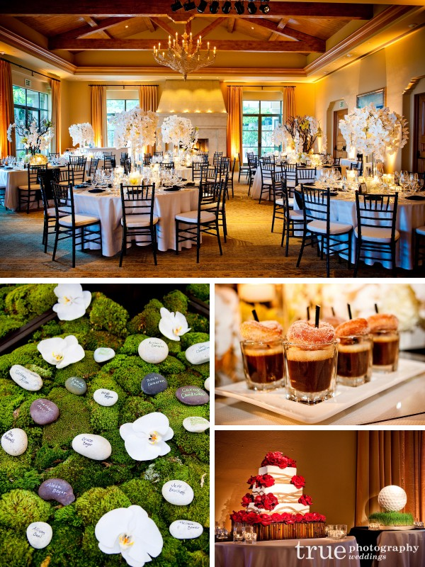 Orange County Wedding Photography_ Candelight reception with white orchid floral centerpieces, rock and moss escort cards and wedding cake
