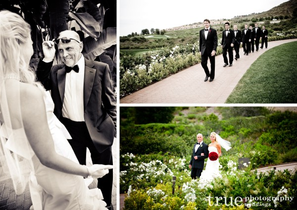 Orange County Wedding photography of bride walking down the aisle and the groomsmen at Pelican Hill Resort, Orange County