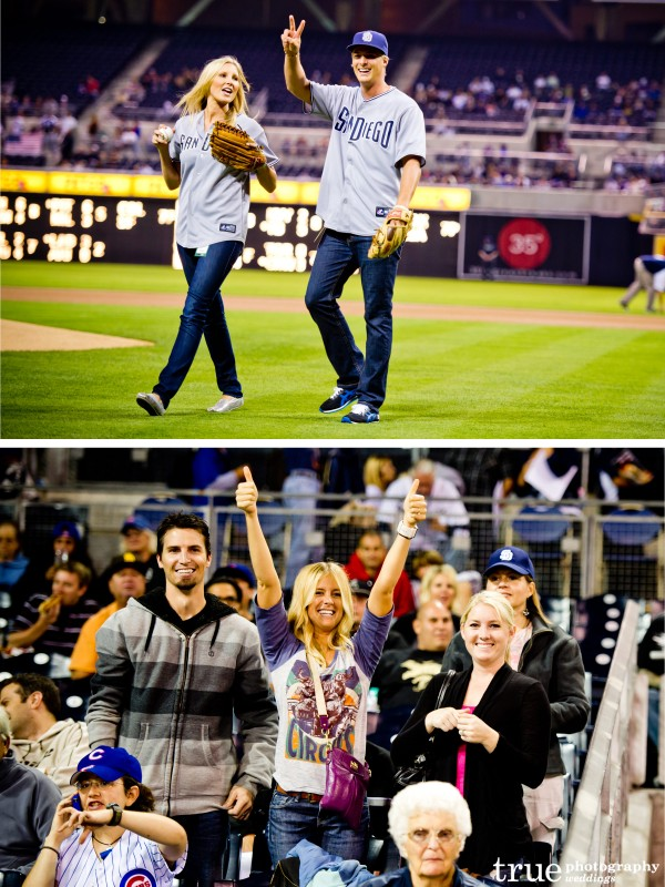 San Diego Wedding Photography: True Photography photographs and cheers Meghan and Cheyne winners of Amazing Race 15 at Petco Park Padres games against Chicago Cubs