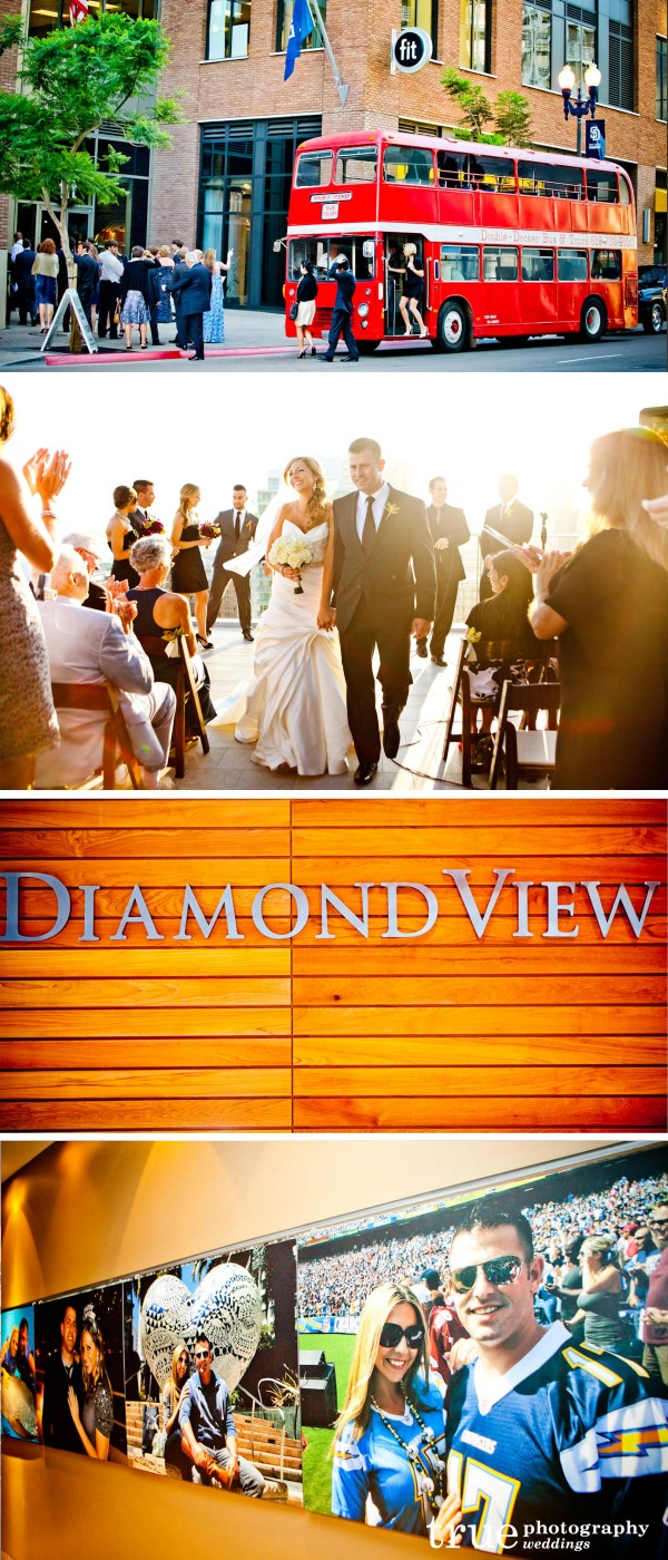 Double decker bus to wedding reception at the Diamond View Tower's Ultimate Skybox in Downtown San Diego